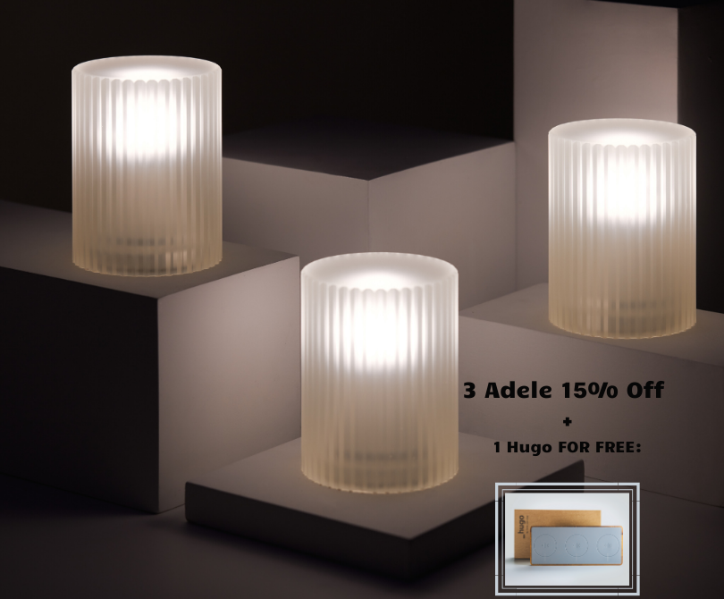 Promotion: 3 Adele Lamps + 1 Hugo FOR FREE
